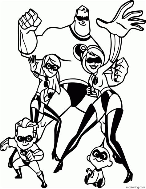 The Incredibles coloring book pages 23 free Disney