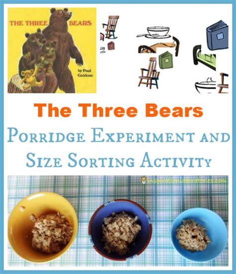 The Three Bears Porridge Experiment Size Sorting Paul