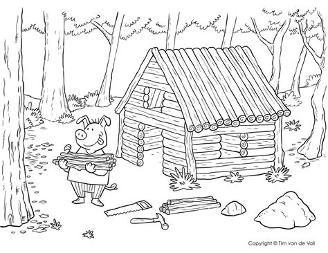 The Three Little Pigs Coloring Page Printables4Kids