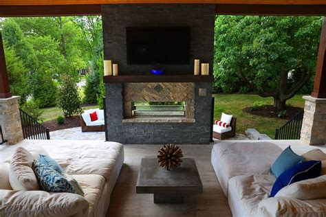 The outdoor living room in this Kirkwood home is an