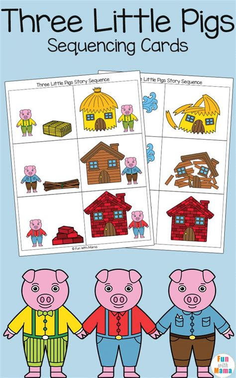 Three Little Pigs Sequencing Cards Fun with Mama