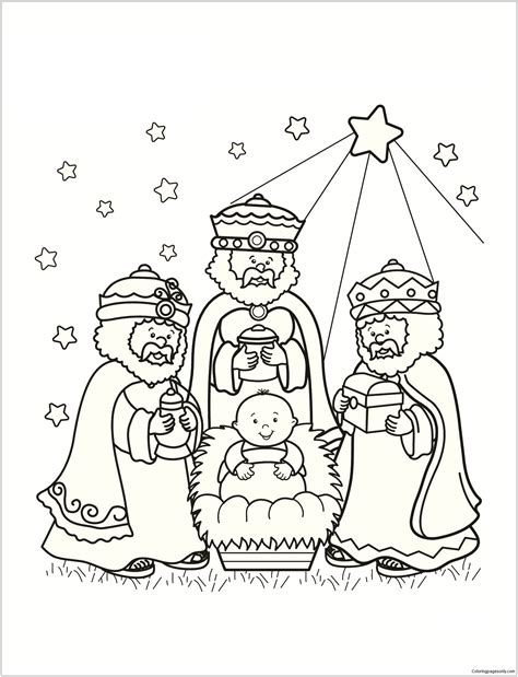 Three Wise Men Coloring Page Free Three Wise Men