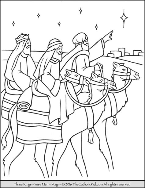 Three Wise Men Coloring Page thecolor