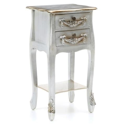 Toulouse Silver 2 Drawer Bedside Table Dunelm