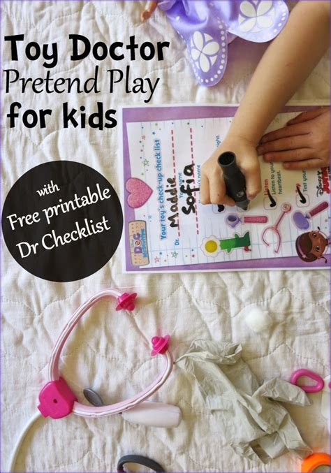 Toy Doctor Pretend Play with free Printable Doctor s Checklist