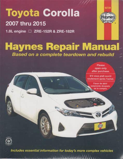 Toyota corolla workshop service and maintenance manual