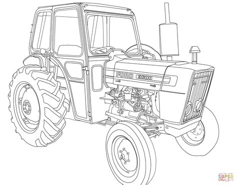 Tractor Ford 3600 coloring page Free Printable Coloring