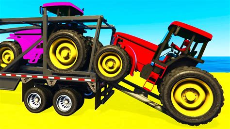 Tractor Transportation with Spiderman Cars Cartoon For