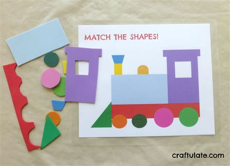 Train Shape Matching Puzzle Printable Craftulate
