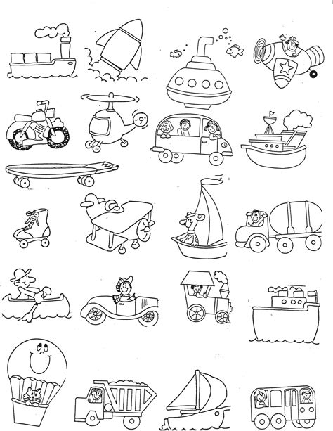 Transportation Coloring Pages and Activity Worksheets