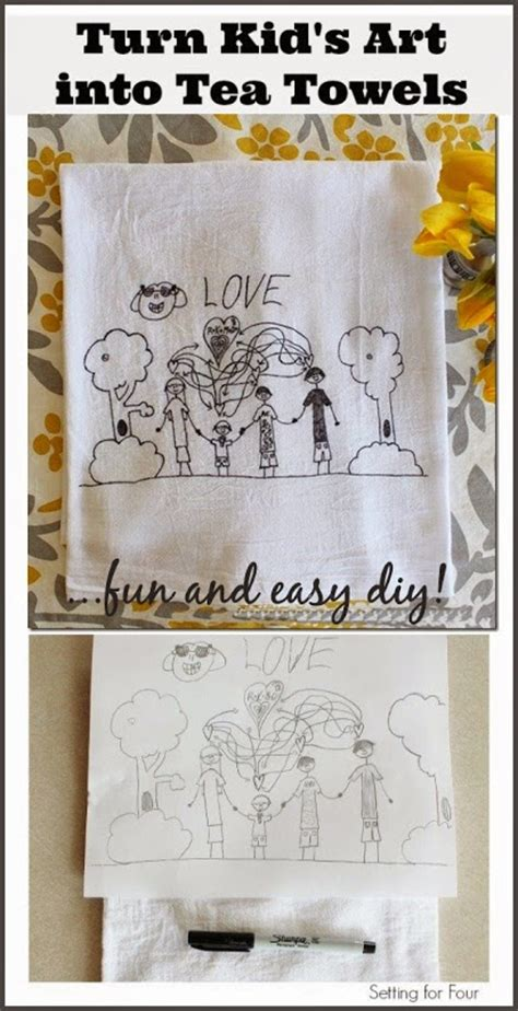 Turn Childrens Art Into Tea Towels Kids Craft Setting