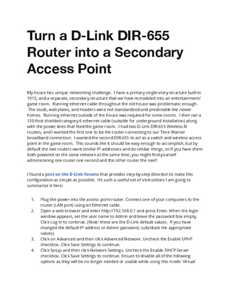 Turn a D Link DIR 655 Router into a Secondary Access Point