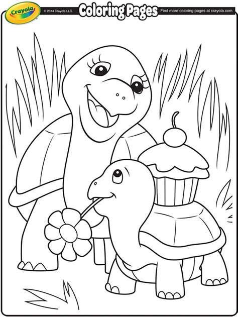 Turtle Mommy Coloring Page crayola