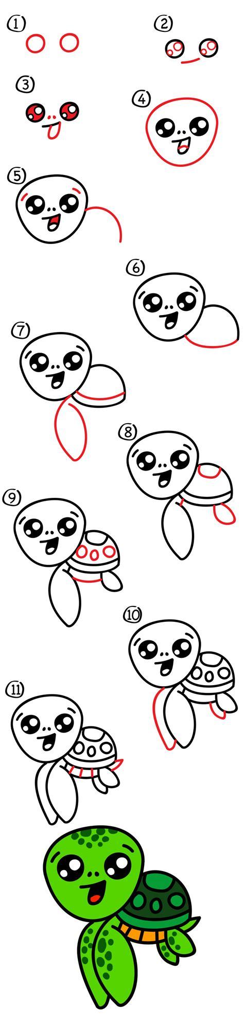 Turtles How to Draw a Cartoon Sea Turtle Draw Animals