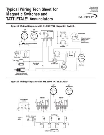 Typical Wiring Tech Sheet for WIR 97020B Magnetic Switches