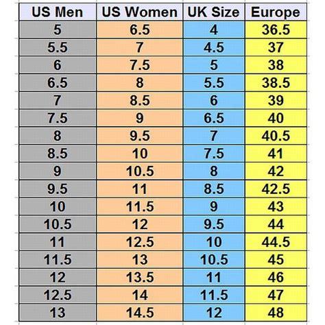 U S Women s Shoe Size Chart Gravity Defyer Men s And