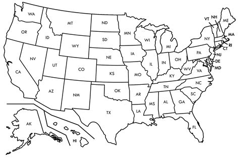 USA Maps Printable State Map Outlines State Coloring Pages