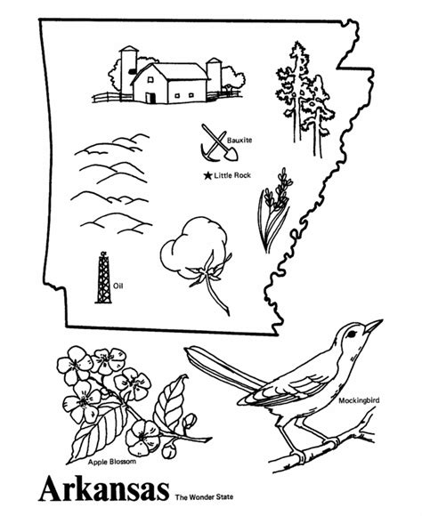 USA Printables State of Arkansas Coloring Pages