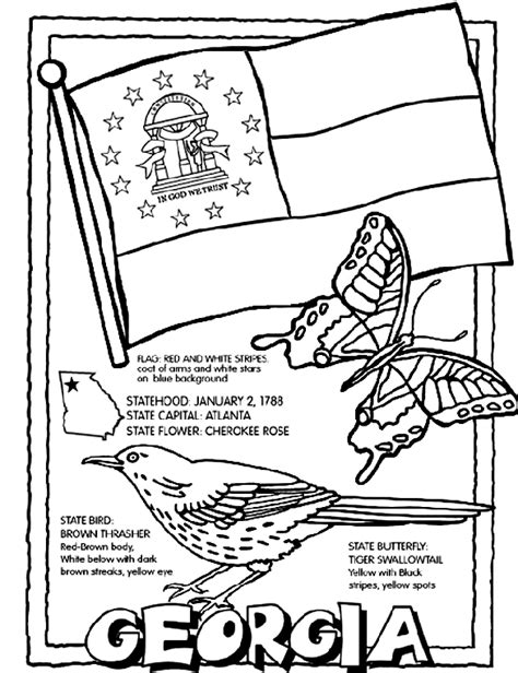USA Printables State of Georgia Coloring Pages Georgia