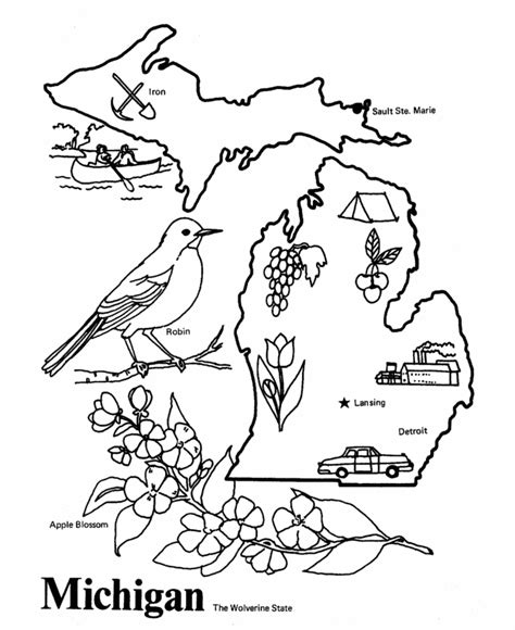 USA Printables State of Michigan Coloring Pages