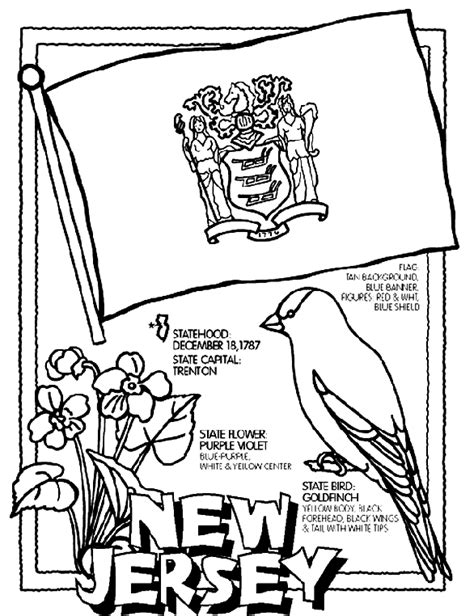 USA Printables State of New Jersey Coloring Pages New