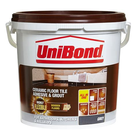 Unibond Ready to Use Floor Tile Adhesive Grout Grey 14