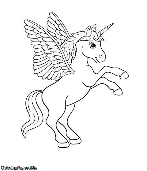Unicorn with wings coloring page Free Printable Coloring