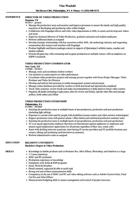 Video Production Resume Sample Resume My Career