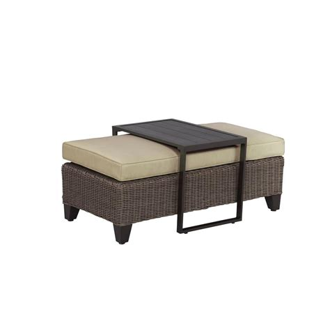 Vineyard Patio Ottoman Coffee Table with Meadow Cushion