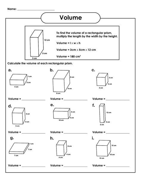 Prism Volume Worksheet : Surface Area And Volume Of Rectangular ...