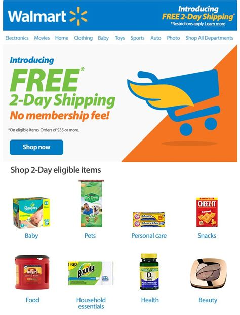 Walmart Free 2 Day Shipping on Millions of Items