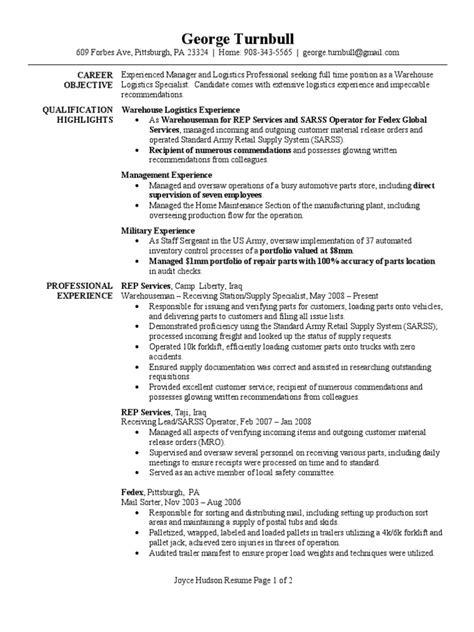 Warehouse Specialist Resume Sample One Logistics Resume