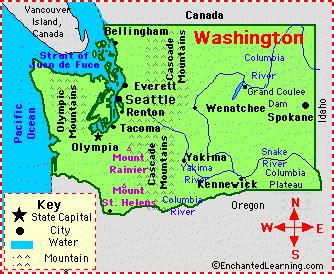 Washington Facts Map and State Symbols