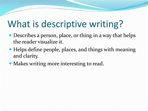 What Is the definition of a descriptive essay Reference