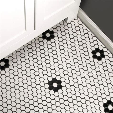 White Hex Mosaic Floor Tile by Merola homedepot