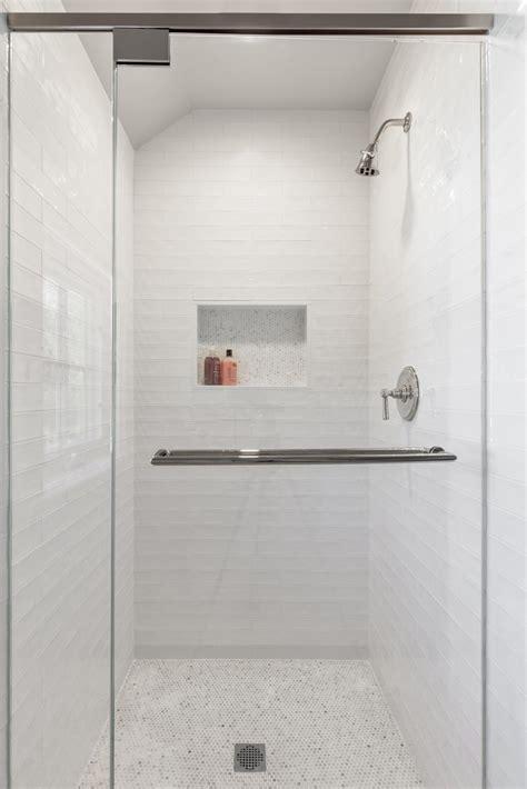 White Mosaic Shower Floor Tiles Design Ideas Page 1