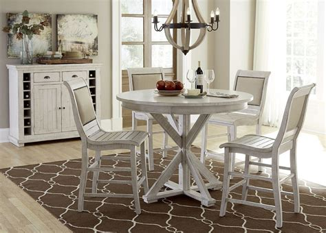 Willow Round Counter Height Dining Set Distressed White