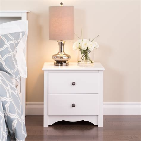 Winslow White 2 drawer and Open Cubbie Nightstand