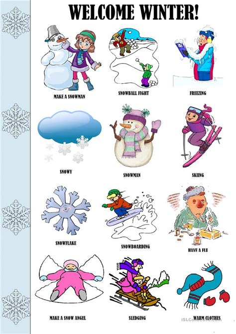 Winter Worksheets for Kids and ESL Teachers