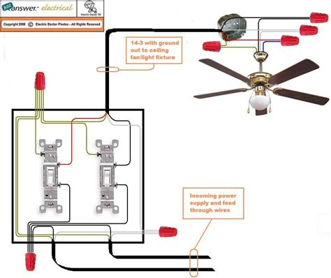Wiring a Ceiling Fan for Separate Control of Fan and Light