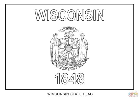 Wisconsin State Flag coloring page Free Printable