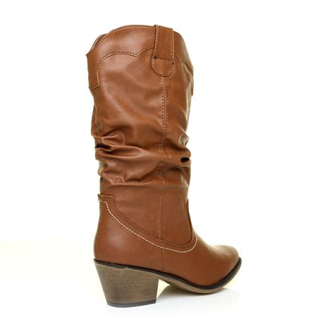 Womens Cowboy Boots Calf Heel and Ankle Western Schuh