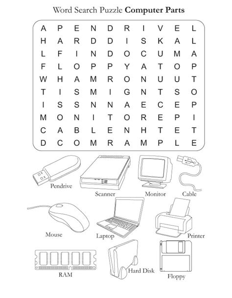 Word Search Puzzle Computer Parts Best Coloring Pages