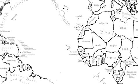 World Map Coloring Page Labeled World Map A4 and 8 5x11