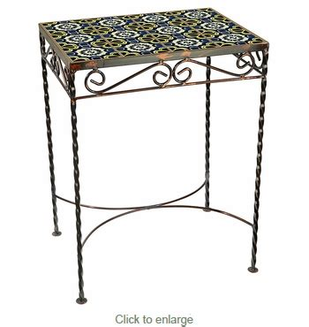 Wrought Iron Side Tables Mexican Talavera Tile Tops