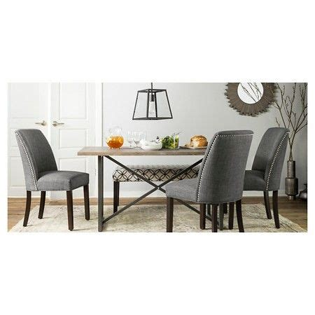 Wynnefield Mixed Material Trestle Dining Table Threshold