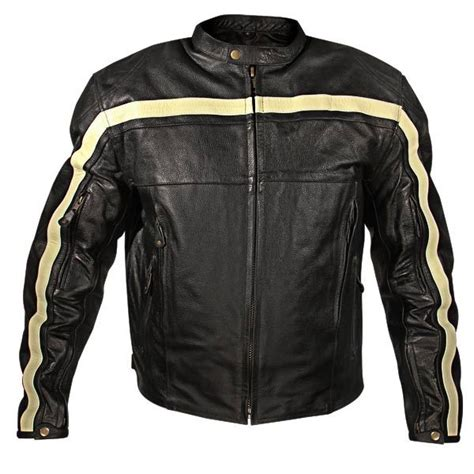 Xelement XSPR100 Striped Mens Black Armored Leather