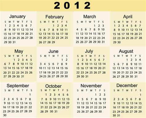Year 2012 Calendar United States