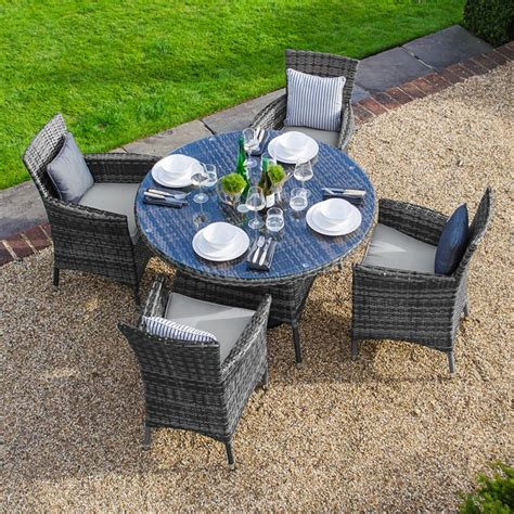 Zebrano Amelia 4 Seat Rattan Dining Set 1 05m Round Table