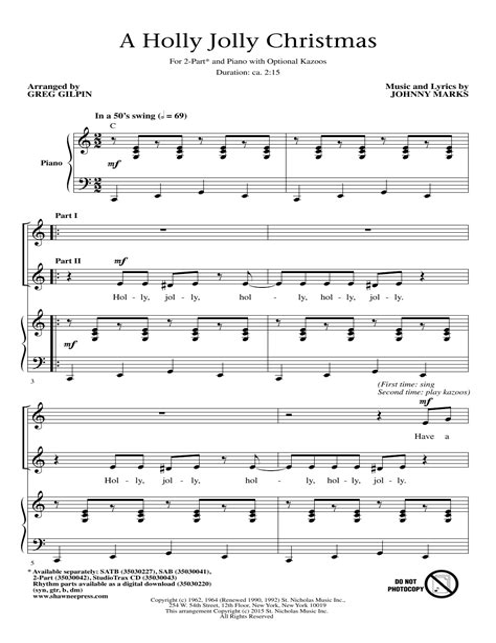 A Holly Jolly Christmas For Brass Quintet  music sheet
